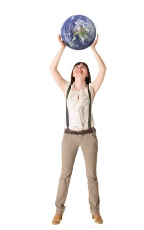 Woman hold earth in hands photo