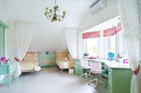 children room with two beds photo