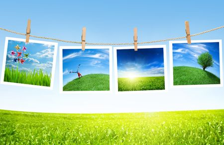 ecology pictures on a clothes line Stock Photo - 5159682