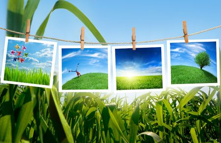 ecology pictures on a clothes line Stock Photo - 5159711