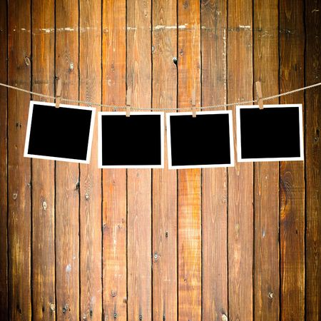 Blank paper sheets on a clothes line Stock Photo - 5166991