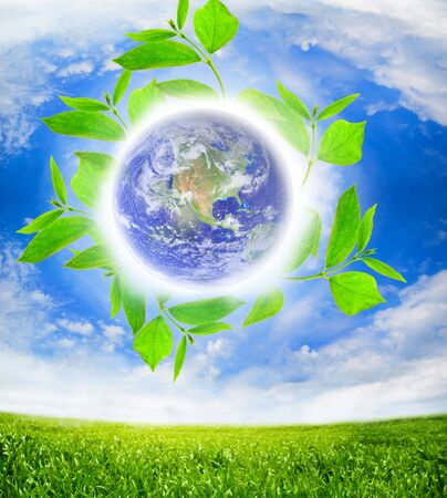 earth globe with white clouds Stock Photo - 5553219