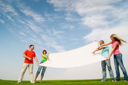 casual group of students holding banner Stock Photo - 5553154