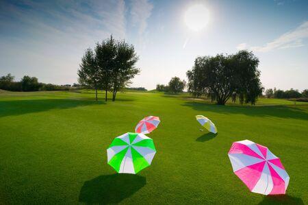 grassy plot: green glade with many-coloured umbrellas Stock Photo