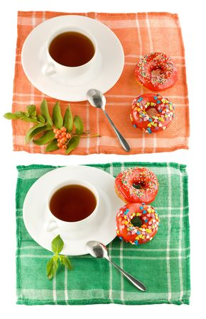 doughnut and cup of tea isolated photo