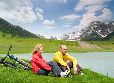 two cyclist relax biking outdoors Stock Photo