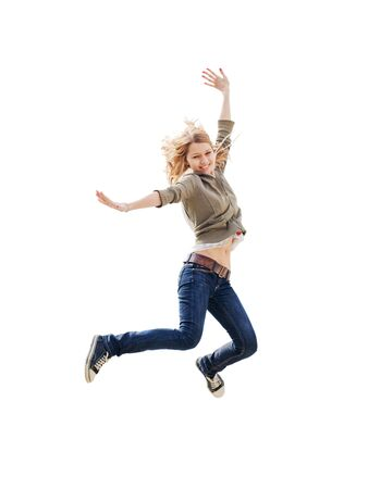 girl jumping isolated on white Stock Photo - 5553228