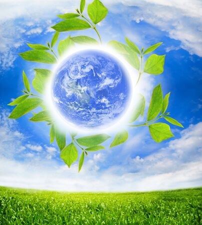 earth globe with white clouds Stock Photo - 5709161