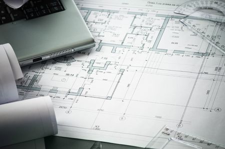 architects home plans on the table Stock Photo