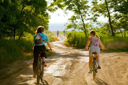 two cyclist relax biking outdoors photo