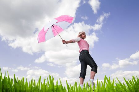 cute woman with pink umbrella photo