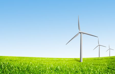 wind turbines on a field Stock Photo - 5709156