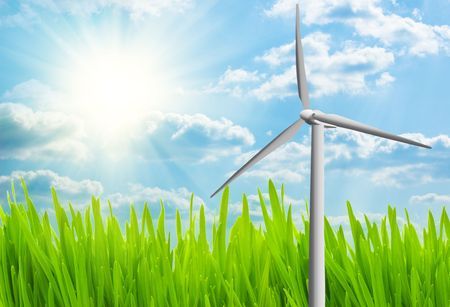 Wind turbine on a field Stock Photo - 5709150