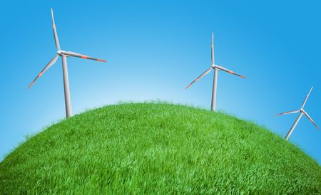 wind turbines on a field Stock Photo - 5837606