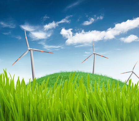 wind turbines on a field Stock Photo - 5837610