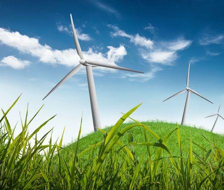 wind turbines on a field Stock Photo - 6049315