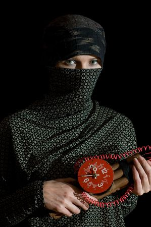 extremist: islamic woman with time bomb