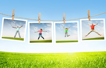 jumping: jumping people on idyllic landscape