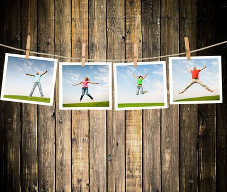 jumping people on idyllic landscape