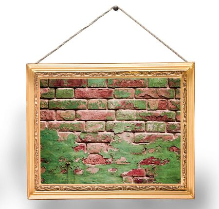 briks: briks wall with frame on white background