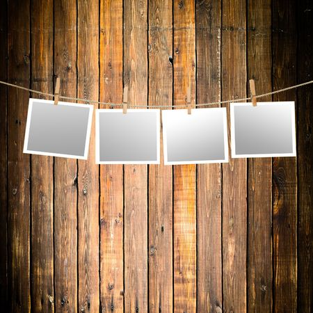 blank paper sheets on a clothes line Stock Photo - 6167181