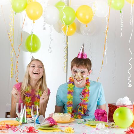 young happy smiling couples at birthday Stock Photo - 6303614