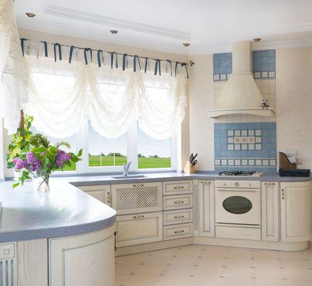 Beautiful kitchen interior of large villa