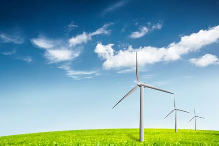 wind turbines on a field Stock Photo - 6585283