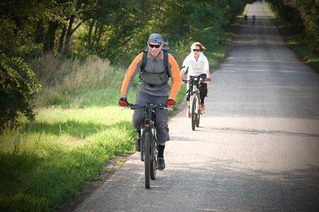 two cyclist relax biking outdoors Standard-Bild