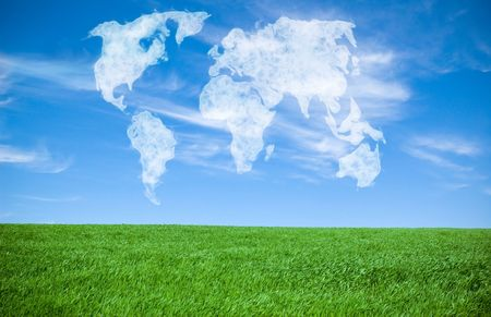 world map shaped clouds in the sky Stock Photo - 6630670
