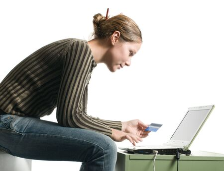woman internet shopping isolated on white Stock Photo - 6687668