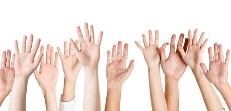 reaching hands: menselijke handen geïsoleerd op wit Stockfoto