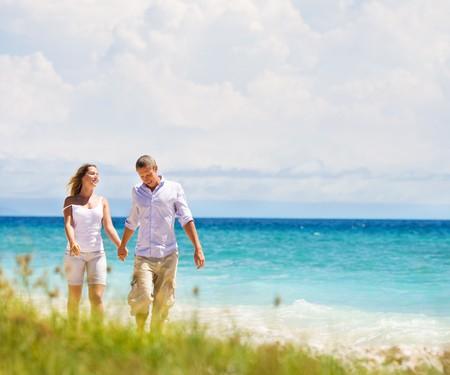 couple having fun at the beach Standard-Bild