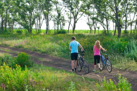 two cyclist relax biking outdoors Stock Photo - 7364283
