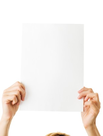 woman with blank paper isolated photo
