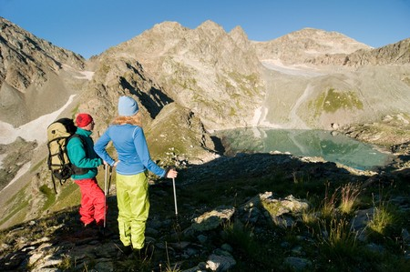 couple hiking in the mountain  Stock Photo - 7785339