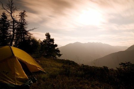 camping: Tent on Mountain at Night
