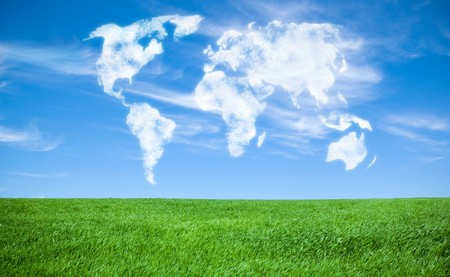 world map shaped clouds in the sky Stock Photo - 7785330