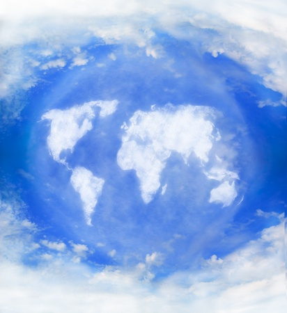 world map shaped clouds in the sky Stock Photo - 8402088