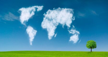 world map shaped clouds in the sky Stock Photo - 8402087