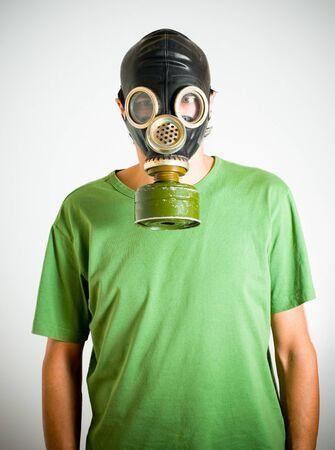 a man wearing gas mask Standard-Bild