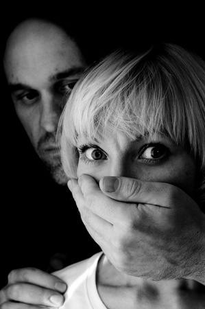domestic violence black and white Stock Photo