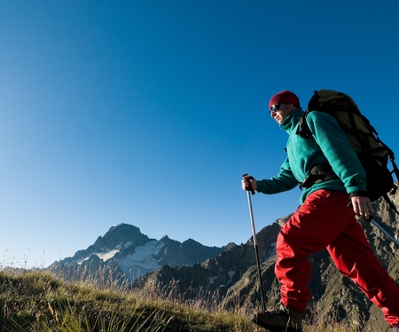 man hiking in a mountain Stock Photo - 8949645