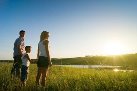 happy family having fun outdoors Standard-Bild