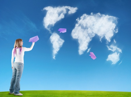 a woman with paper planes Standard-Bild