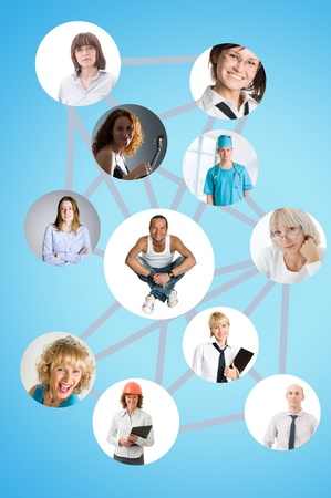 social network collage with many people Stock Photo - 9141306