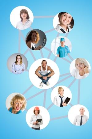 viele leute: Soziales Netzwerk Collage mit vielen Menschen