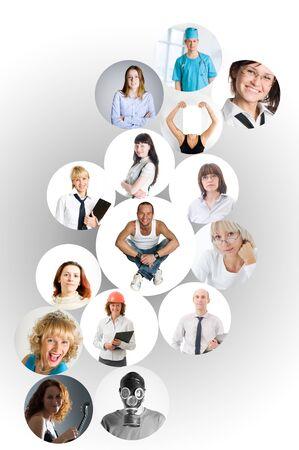 mucha gente: collage de red social con muchas personas