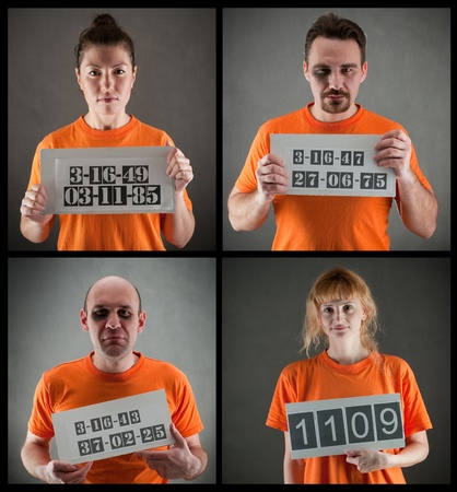 woman prison: arrested criminal gang wearing orange jumpsuit Stock Photo