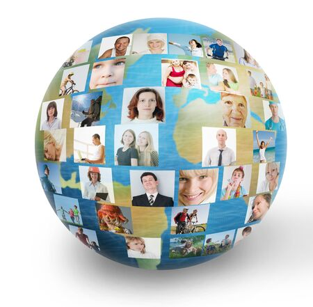 social network collage with many people photo